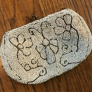 VTG 40s WWII Art Deco Kiss Lock Beaded Evening Bag